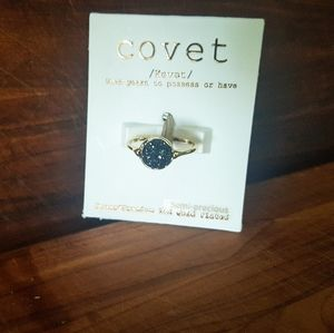 14K Gold Plated Ring with black stone